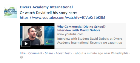 Facebook Text Link to YouTube Sample